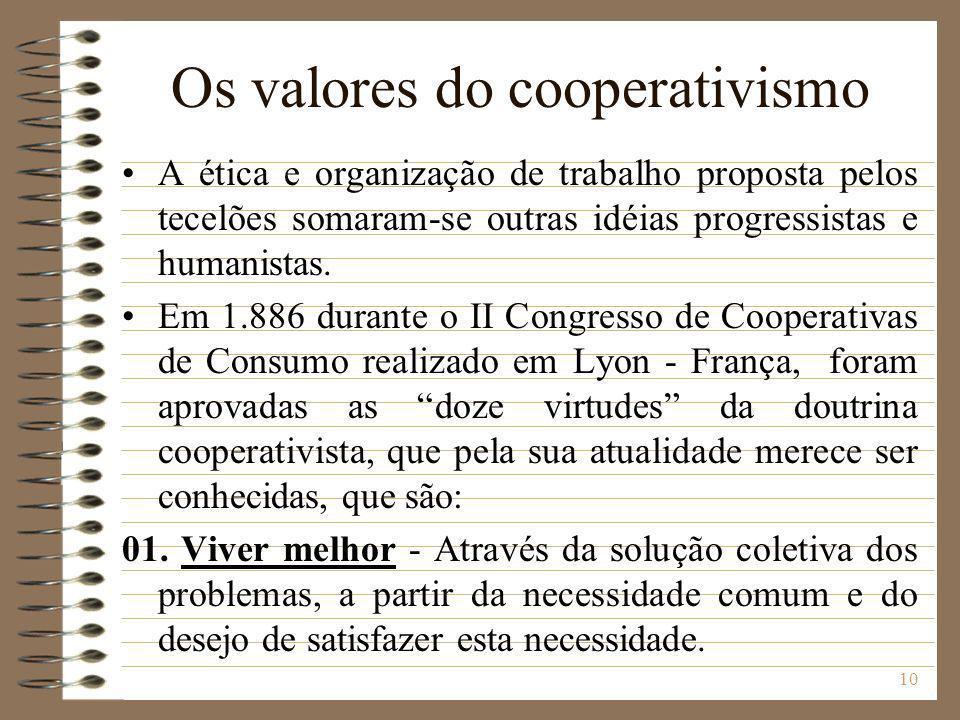 Os valores do cooperativismo