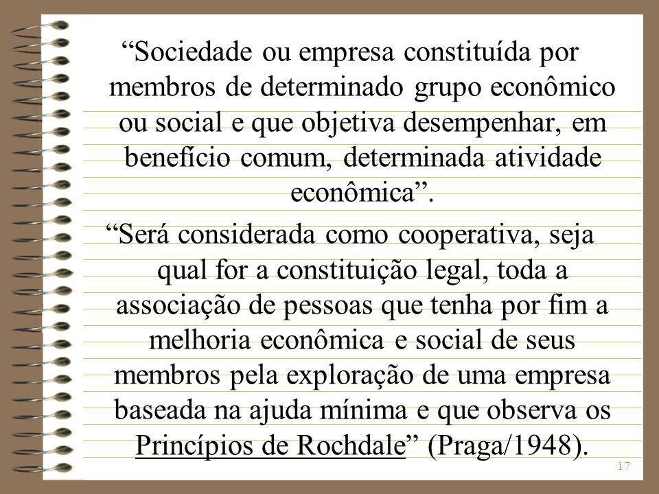 Sociedade ou empresa constituída por membros de determinado grupo econômico ou social e que objetiva desempenhar, em benefício comum, determinada atividade econômica .
