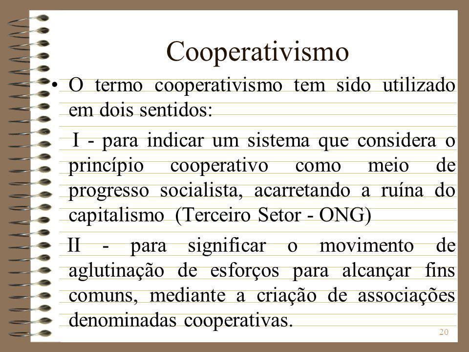 Cooperativismo O termo cooperativismo tem sido utilizado em dois sentidos: