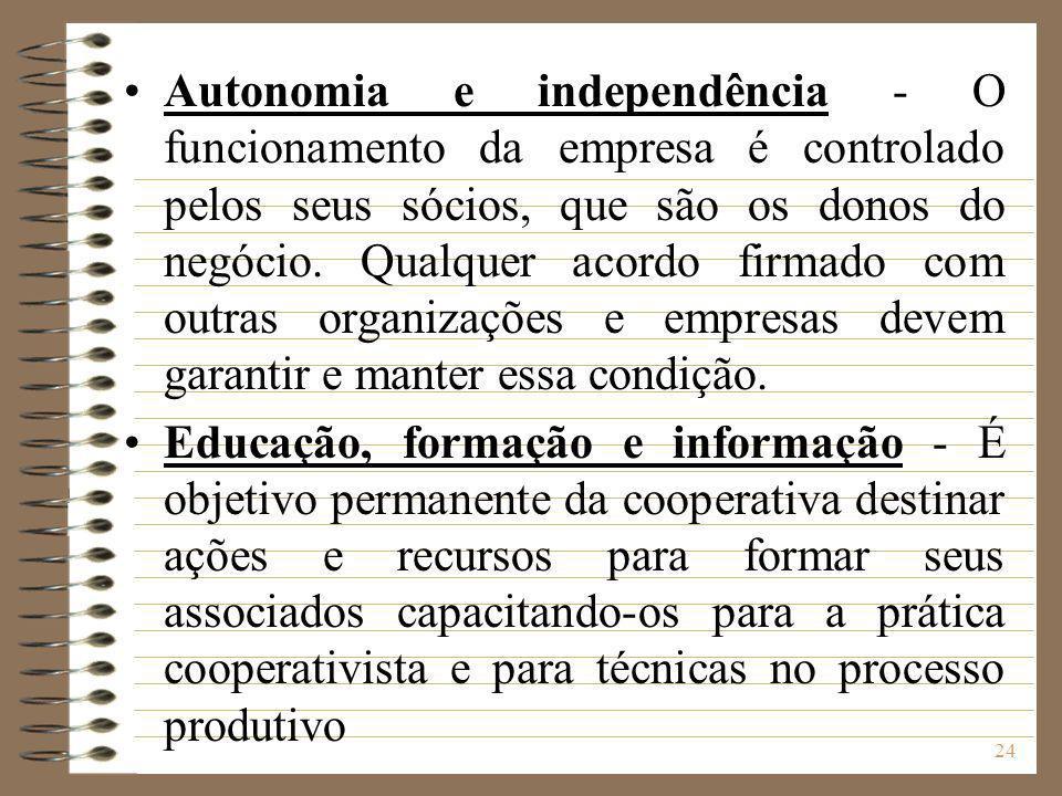 Autonomia e independência - O funcionamento da empresa é controlado pelos seus sócios, que são os donos do negócio. Qualquer acordo firmado com outras organizações e empresas devem garantir e manter essa condição.