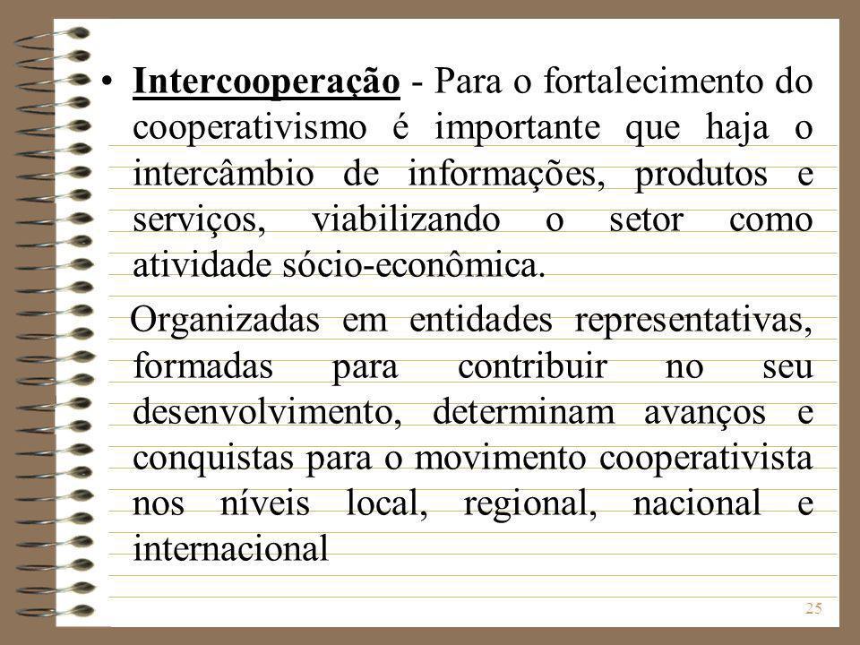 Intercooperação - Para o fortalecimento do cooperativismo é importante que haja o intercâmbio de informações, produtos e serviços, viabilizando o setor como atividade sócio-econômica.
