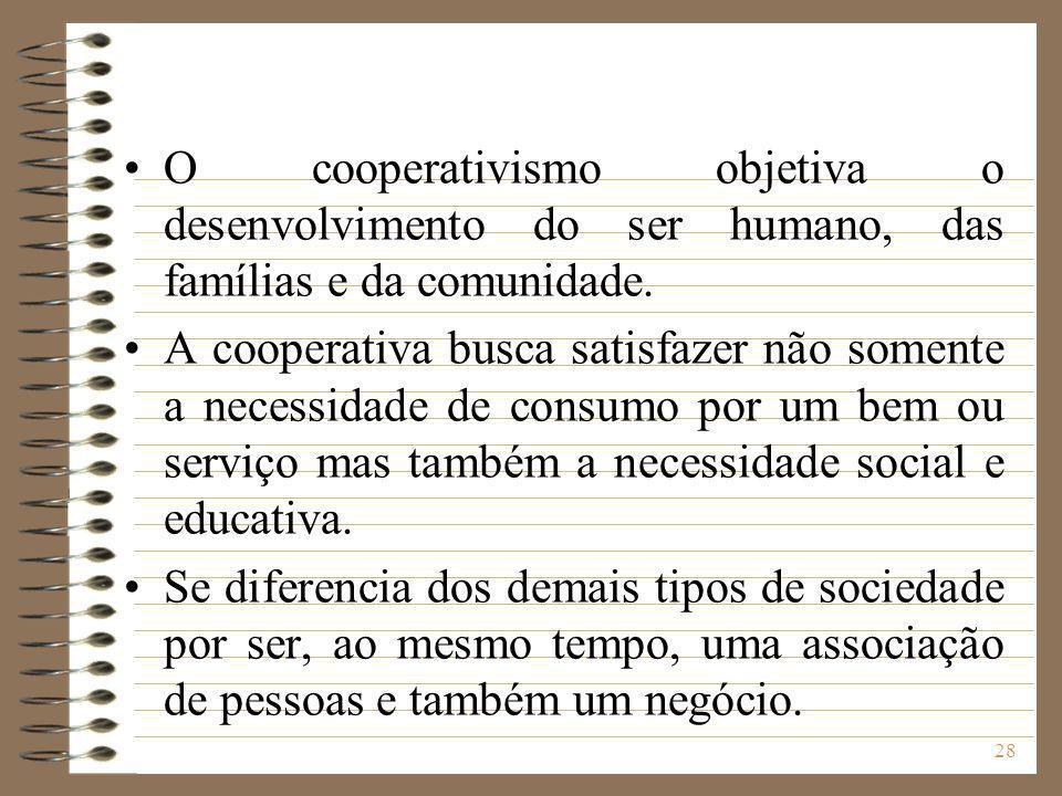 O cooperativismo objetiva o desenvolvimento do ser humano, das famílias e da comunidade.