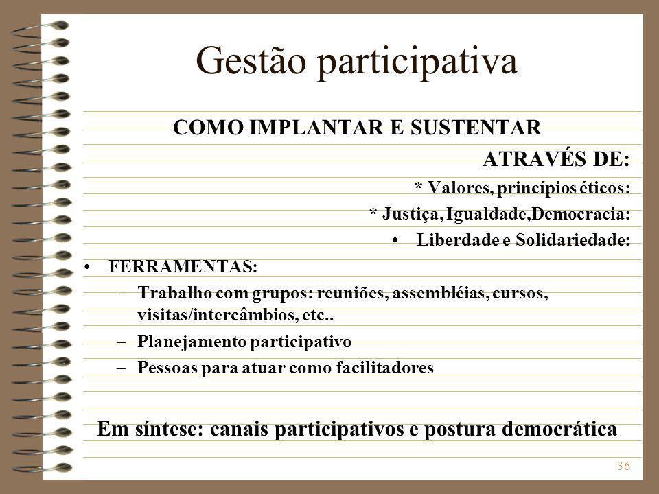 Gestão participativa COMO IMPLANTAR E SUSTENTAR ATRAVÉS DE: