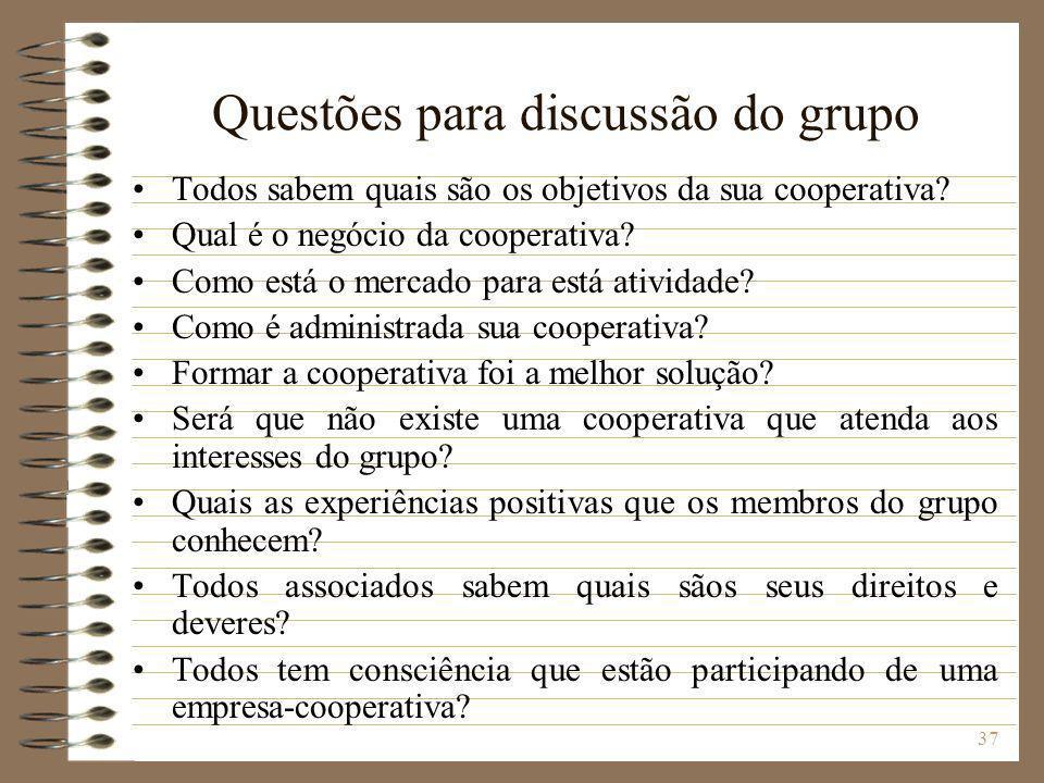 Questões para discussão do grupo