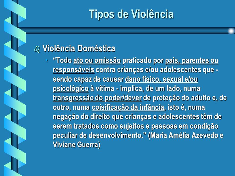 Tipos de Violência Violência Doméstica