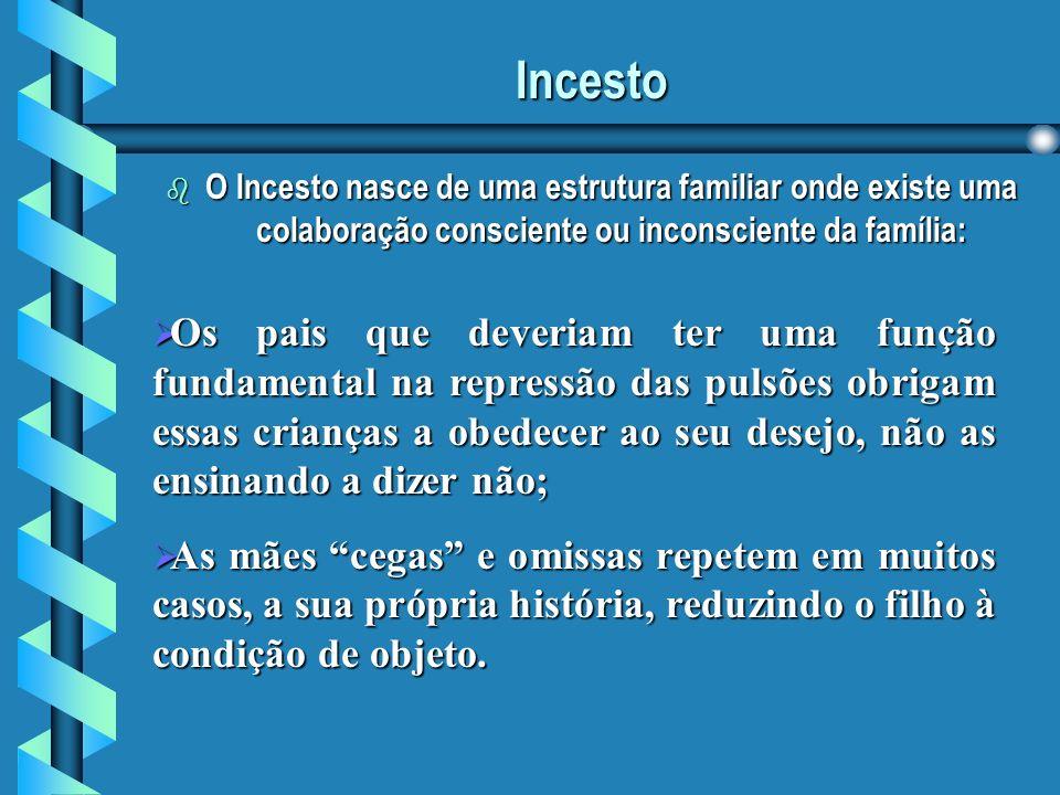 Incesto O Incesto nasce de uma estrutura familiar onde existe uma colaboração consciente ou inconsciente da família: