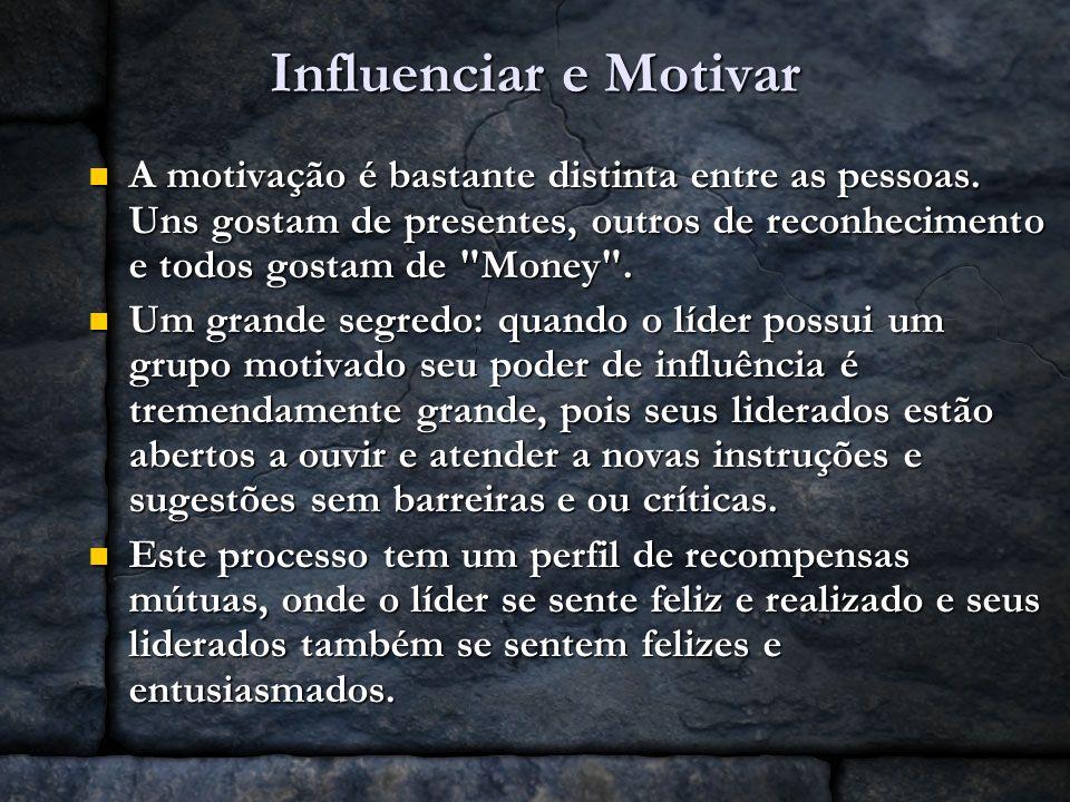 Influenciar e Motivar A motivação é bastante distinta entre as pessoas. Uns gostam de presentes, outros de reconhecimento e todos gostam de Money .
