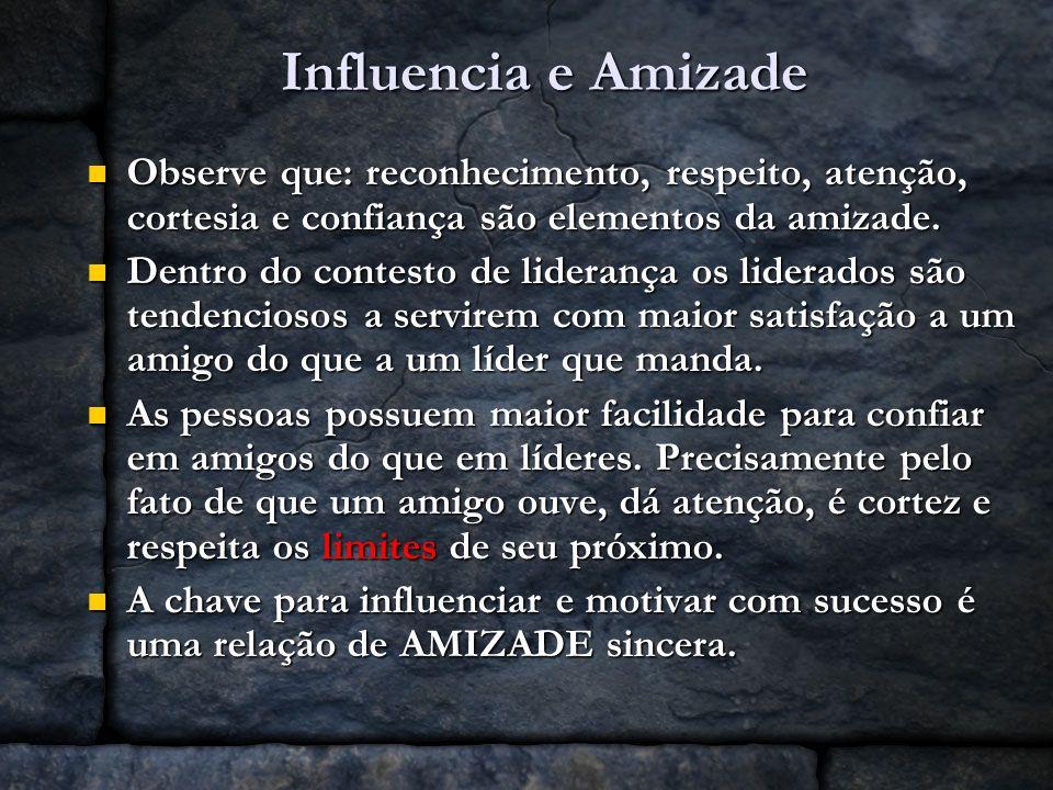 Influencia e Amizade Observe que: reconhecimento, respeito, atenção, cortesia e confiança são elementos da amizade.