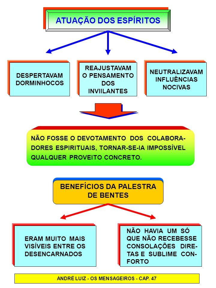 BENEFÍCIOS DA PALESTRA ANDRÉ LUIZ - OS MENSAGEIROS - CAP. 47
