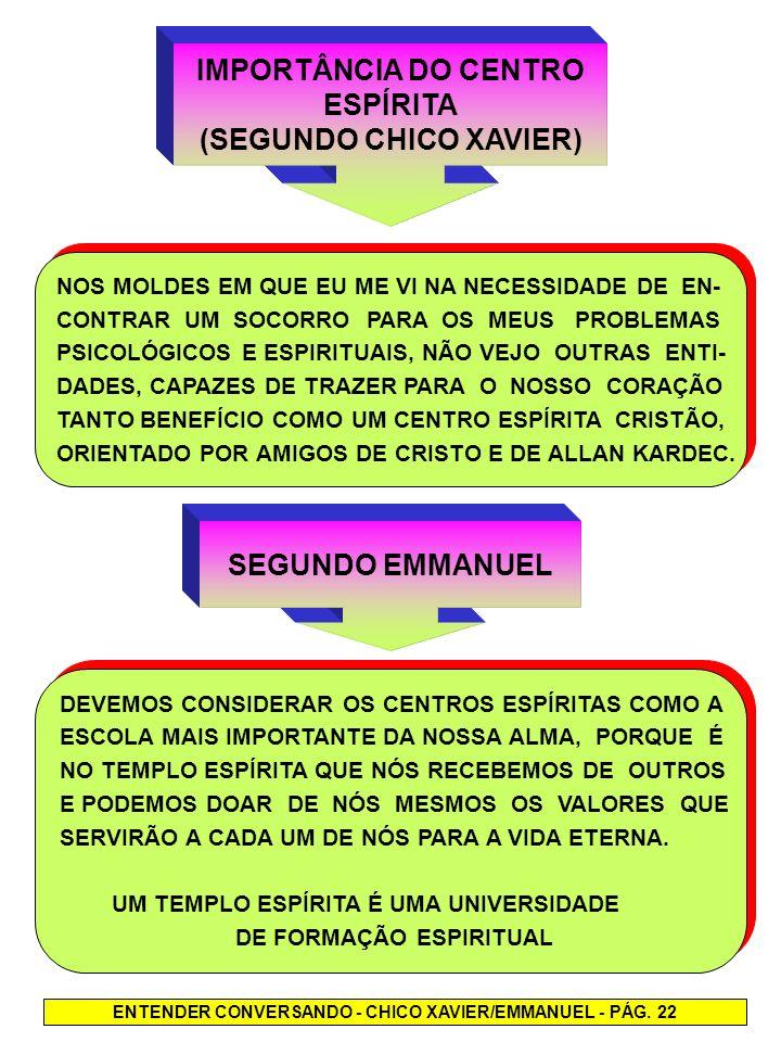 IMPORTÂNCIA DO CENTRO ESPÍRITA (SEGUNDO CHICO XAVIER) SEGUNDO EMMANUEL