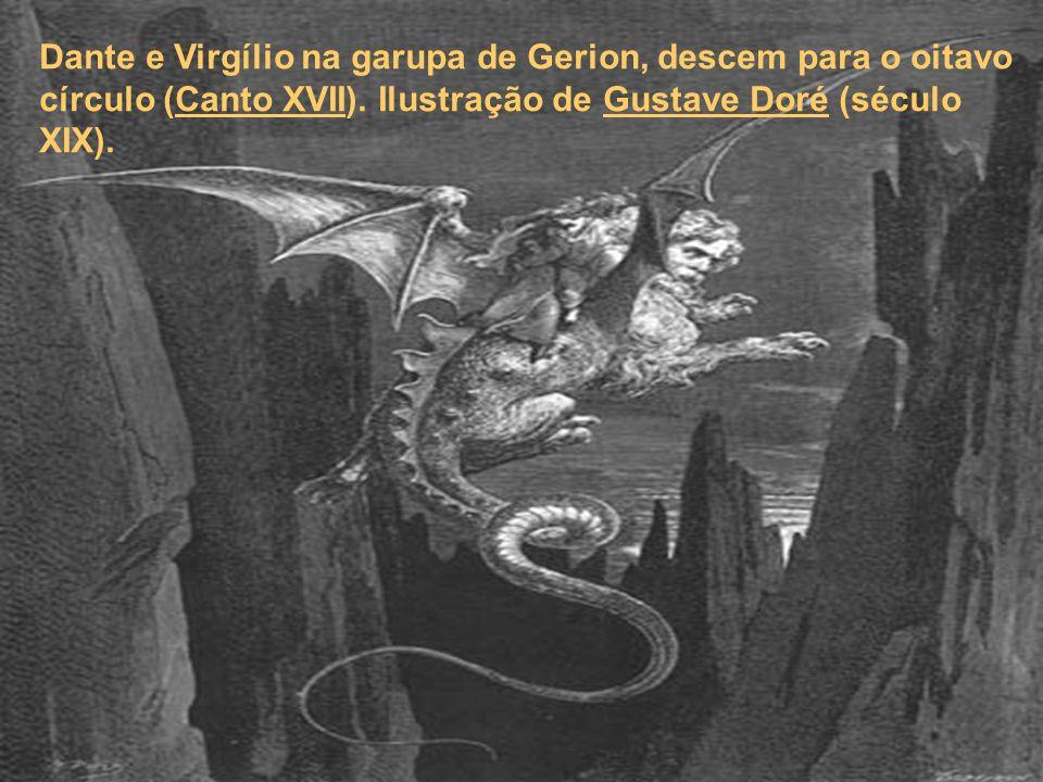 Dante e Virgílio na garupa de Gerion, descem para o oitavo círculo (Canto XVII).