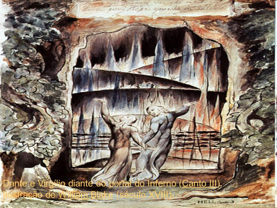 Dante e Virgílio diante do portal do Inferno (Canto III)