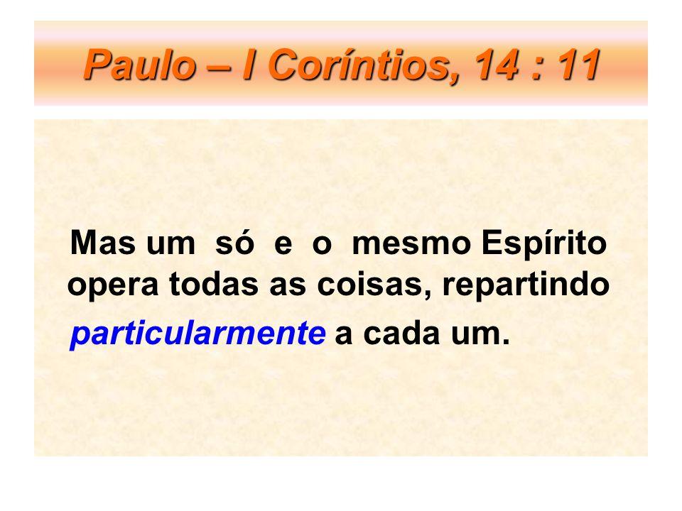 Paulo – I Coríntios, 14 : 11 Mas um só e o mesmo Espírito opera todas as coisas, repartindo.