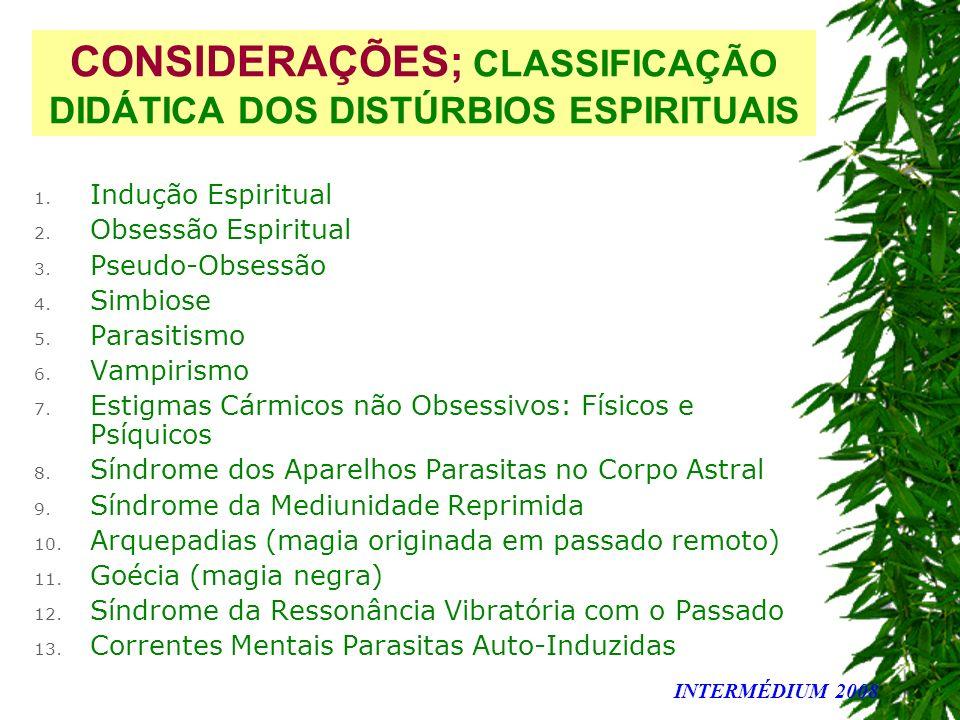 CONSIDERAÇÕES; CLASSIFICAÇÃO DIDÁTICA DOS DISTÚRBIOS ESPIRITUAIS