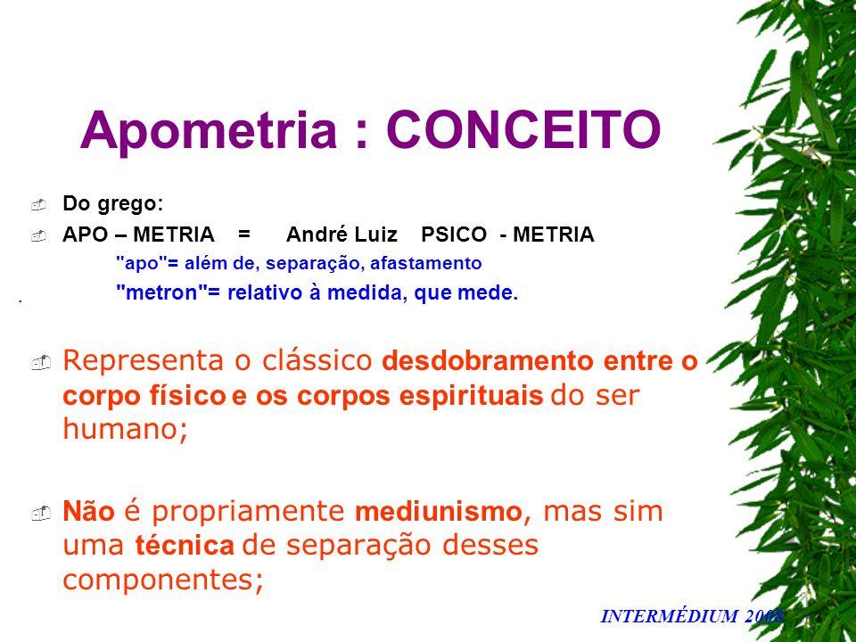 Apometria : CONCEITO Do grego: APO – METRIA = André Luiz PSICO - METRIA. apo = além de, separação, afastamento.