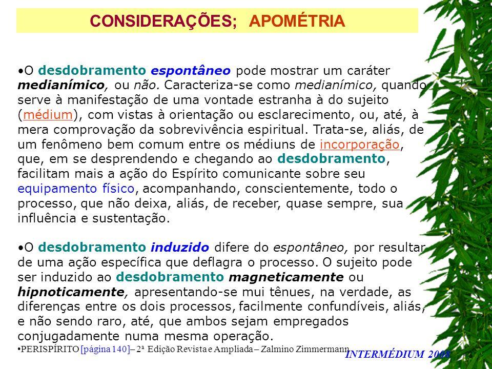 CONSIDERAÇÕES; APOMÉTRIA