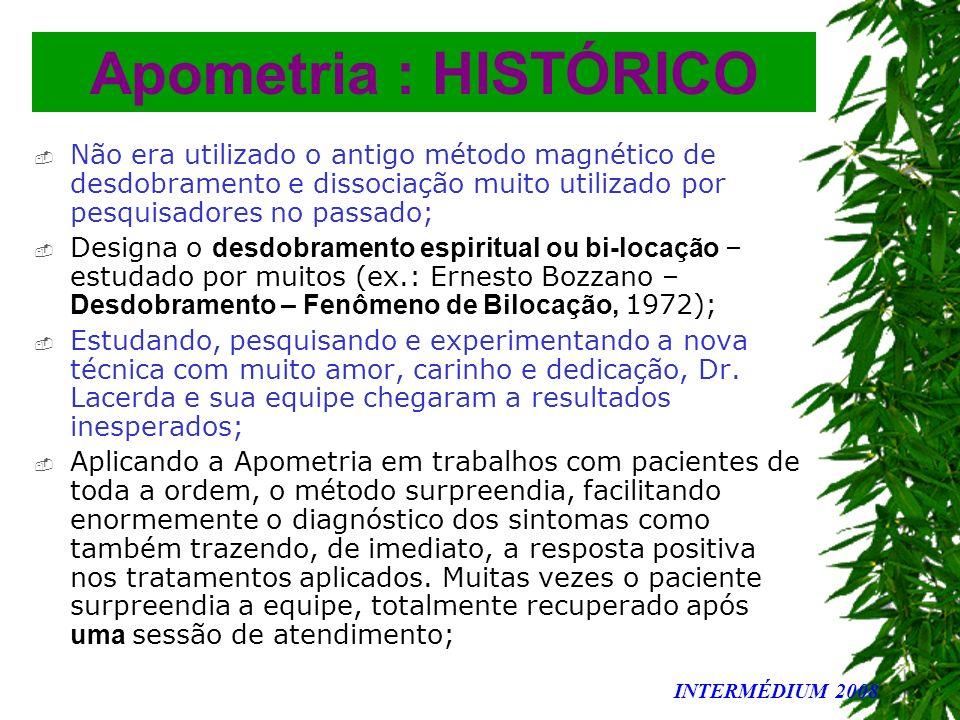 Apometria : HISTÓRICO Não era utilizado o antigo método magnético de desdobramento e dissociação muito utilizado por pesquisadores no passado;