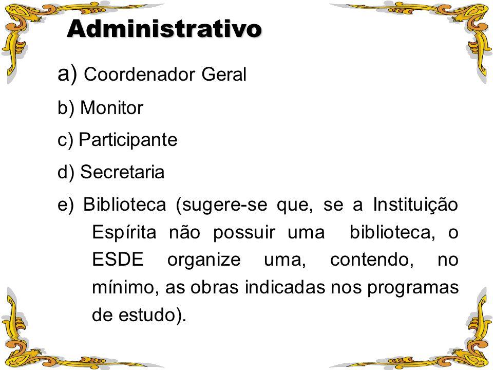 Administrativo a) Coordenador Geral b) Monitor c) Participante