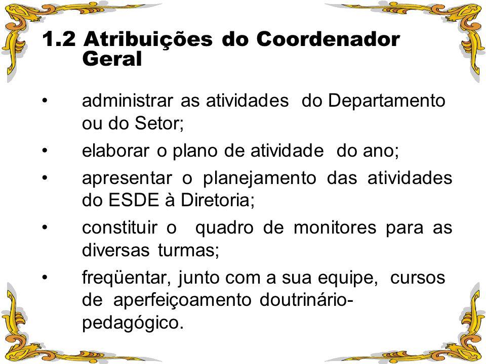 1.2 Atribuições do Coordenador Geral