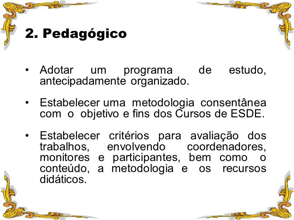 2. Pedagógico Adotar um programa de estudo, antecipadamente organizado.