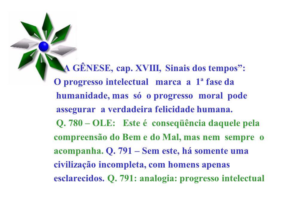 A GÊNESE, cap. XVIII, Sinais dos tempos :