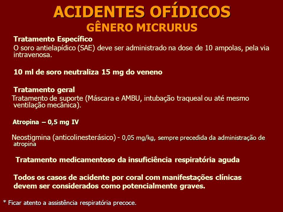 ACIDENTES OFÍDICOS GÊNERO MICRURUS