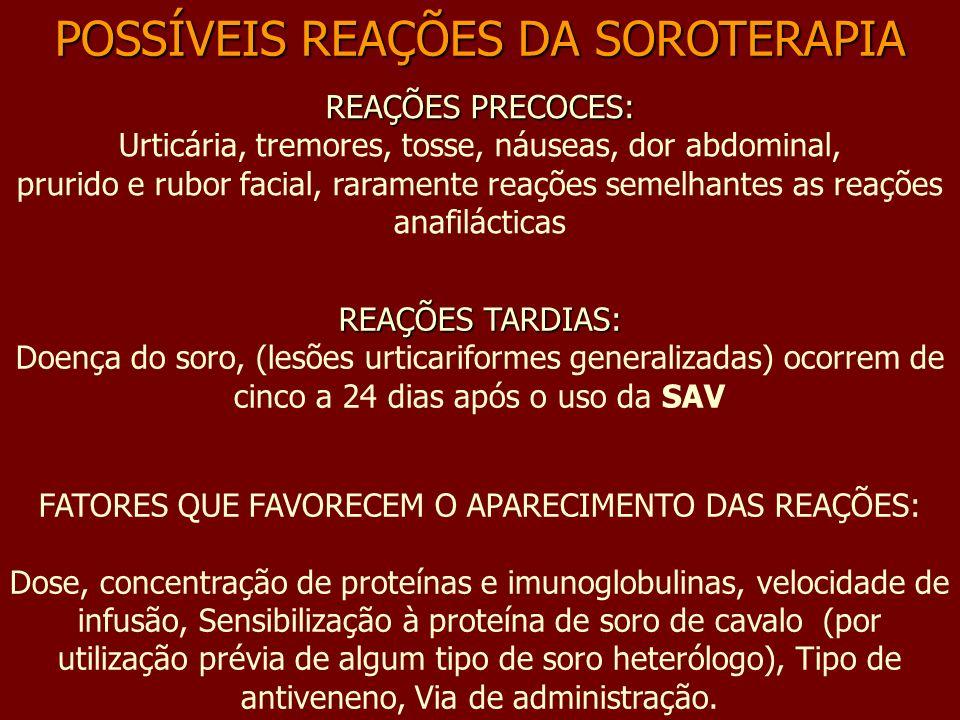 POSSÍVEIS REAÇÕES DA SOROTERAPIA