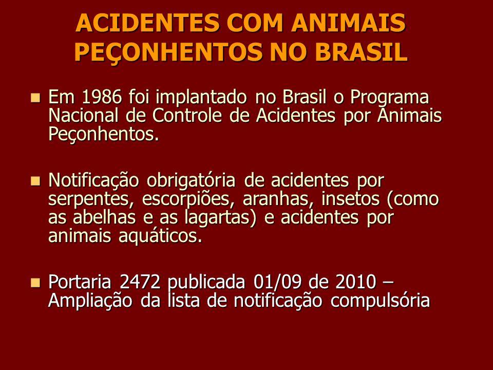 ACIDENTES COM ANIMAIS PEÇONHENTOS NO BRASIL