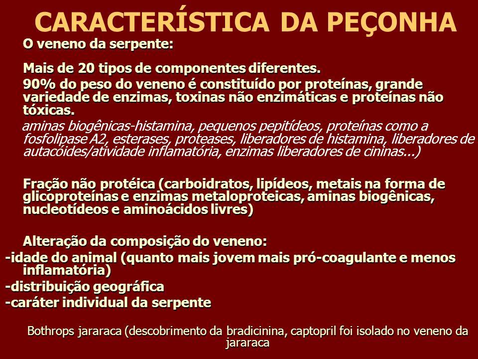 CARACTERÍSTICA DA PEÇONHA