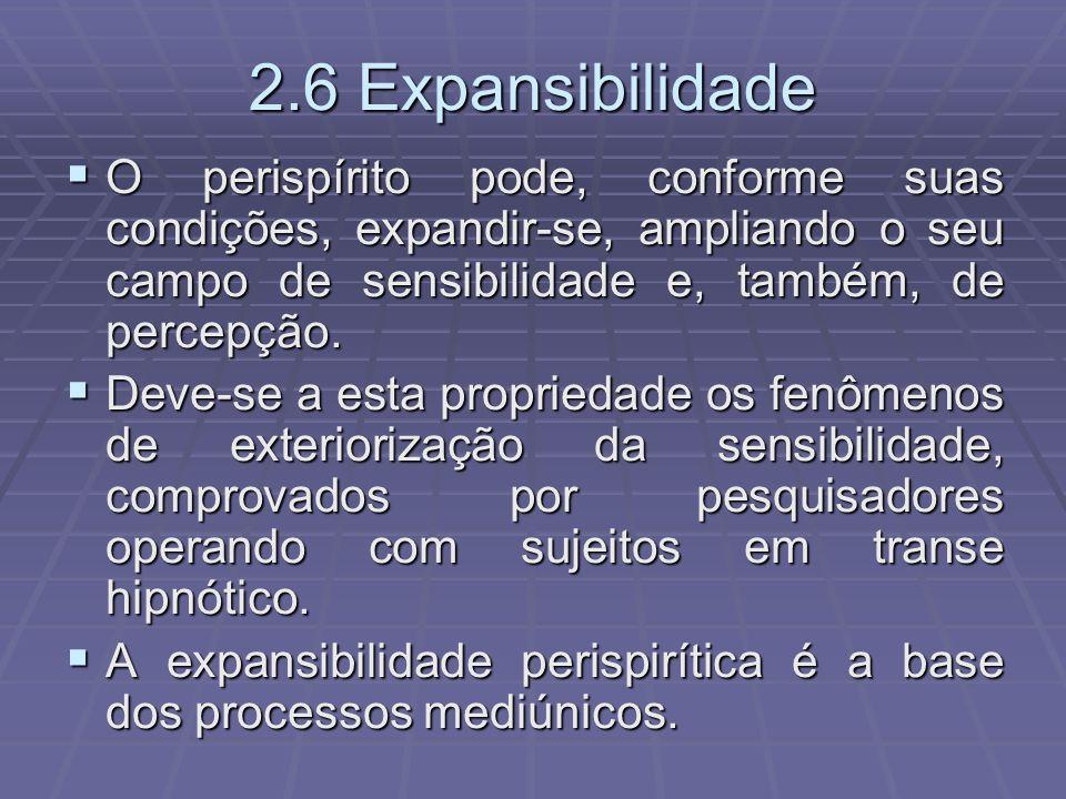 2.6 ExpansibilidadeO perispírito pode, conforme suas condições, expandir-se, ampliando o seu campo de sensibilidade e, também, de percepção.