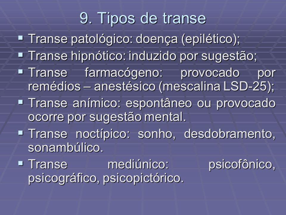 9. Tipos de transe Transe patológico: doença (epilético);