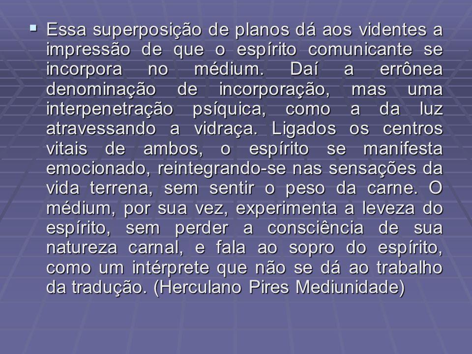 Essa superposição de planos dá aos videntes a impressão de que o espírito comunicante se incorpora no médium.