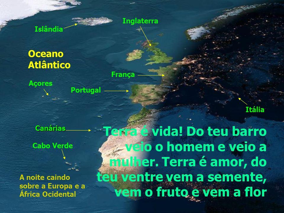 Inglaterra Islândia. Oceano Atlântico. França. Açores. Portugal. Itália. Canárias.