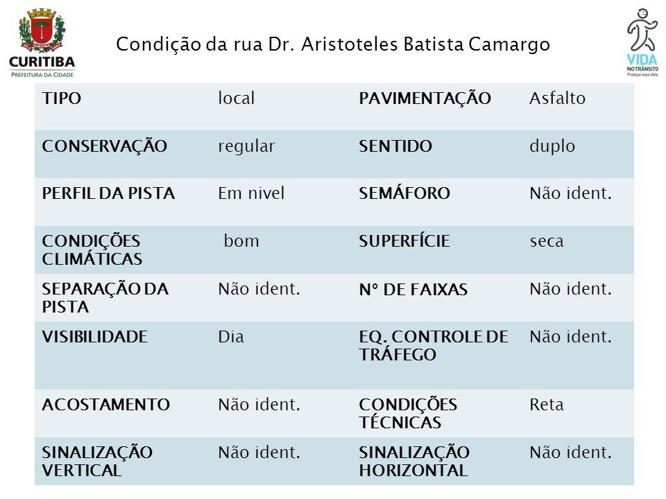 Condição da rua Dr. Aristoteles Batista Camargo