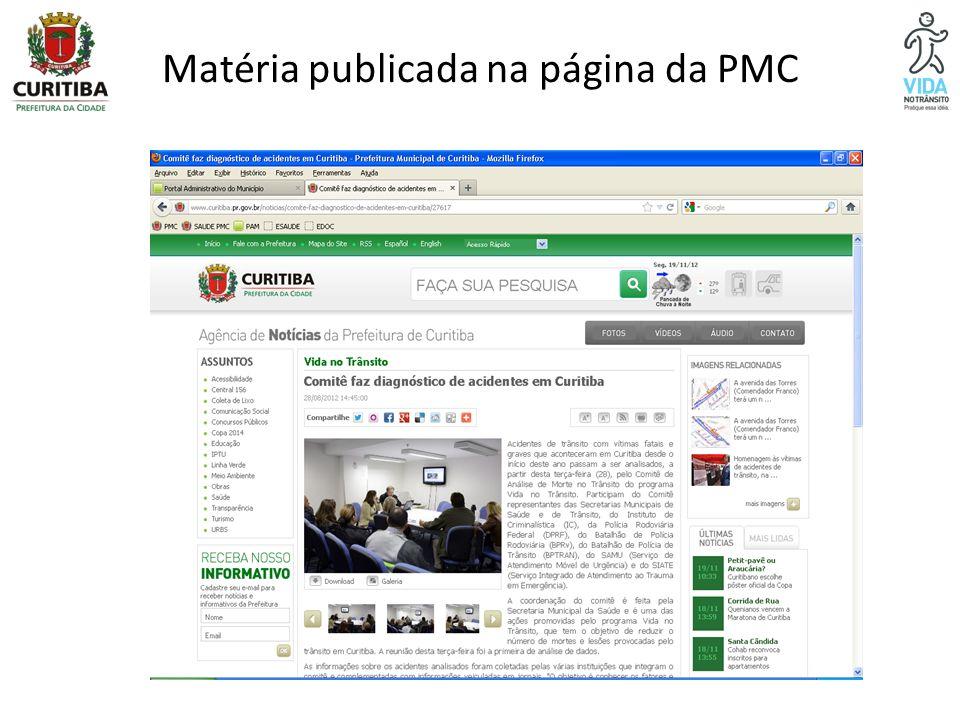 Matéria publicada na página da PMC
