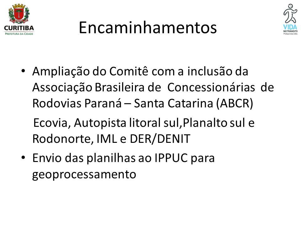 Encaminhamentos Ampliação do Comitê com a inclusão da Associação Brasileira de Concessionárias de Rodovias Paraná – Santa Catarina (ABCR)