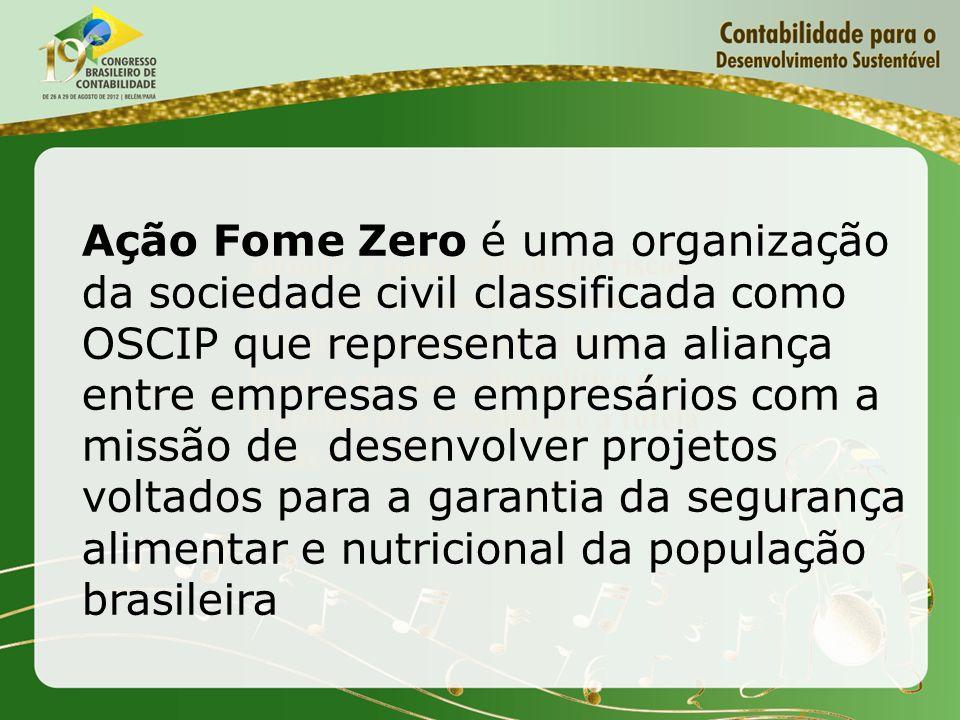 Ação Fome Zero é uma organização da sociedade civil classificada como OSCIP que representa uma aliança entre empresas e empresários com a missão de desenvolver projetos voltados para a garantia da segurança alimentar e nutricional da população brasileira