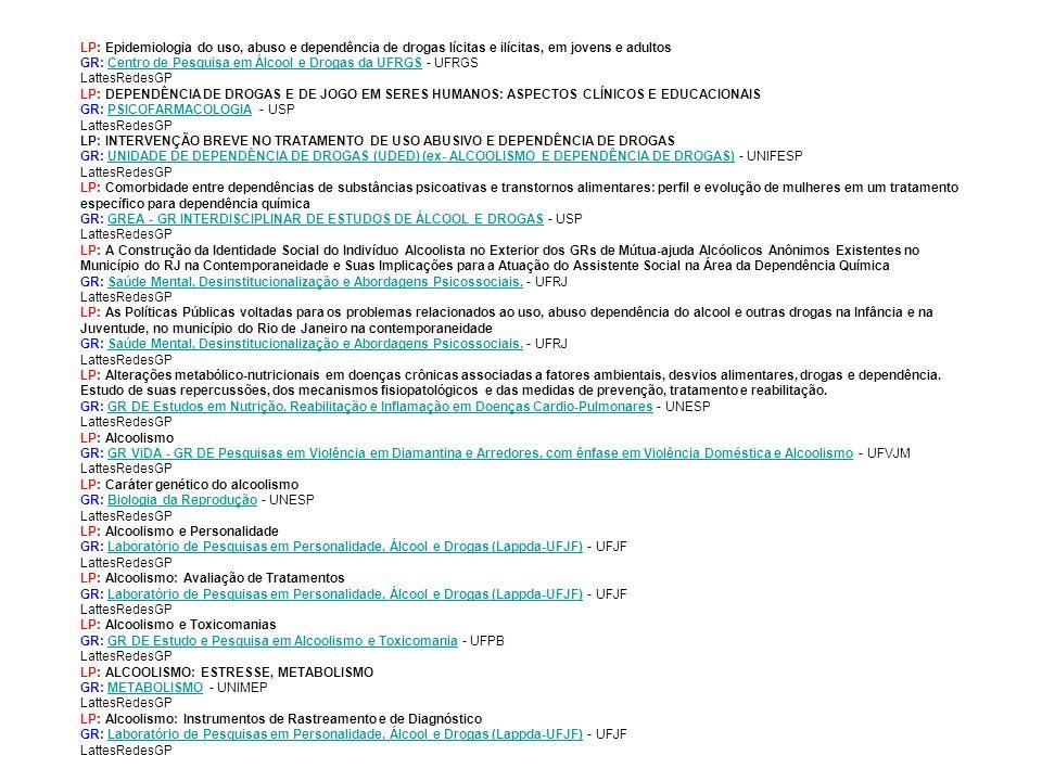 LP: Epidemiologia do uso, abuso e dependência de drogas lícitas e ilícitas, em jovens e adultos GR: Centro de Pesquisa em Álcool e Drogas da UFRGS - UFRGS LattesRedesGP