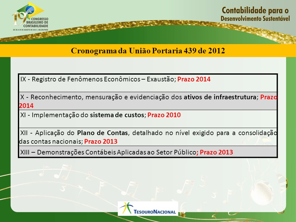 Cronograma da União Portaria 439 de 2012