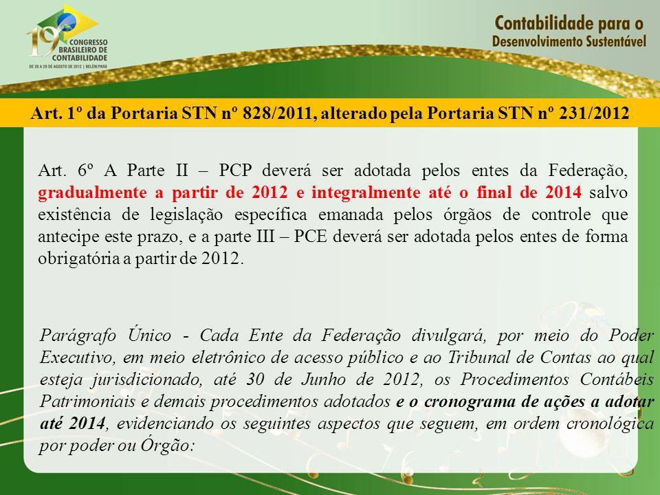 Art. 1º da Portaria STN nº 828/2011, alterado pela Portaria STN nº 231/2012