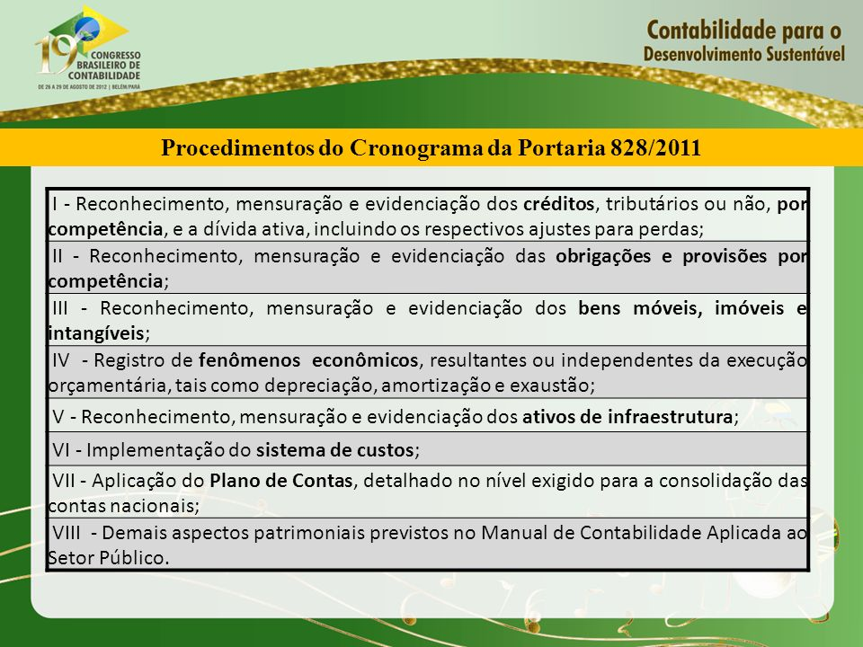 Procedimentos do Cronograma da Portaria 828/2011