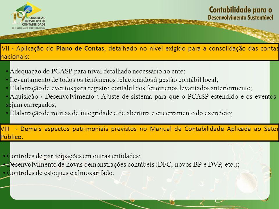 VII - Aplicação do Plano de Contas, detalhado no nível exigido para a consolidação das contas nacionais;