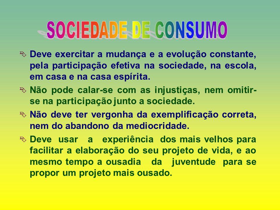 SOCIEDADE DE CONSUMODeve exercitar a mudança e a evolução constante, pela participação efetiva na sociedade, na escola, em casa e na casa espírita.