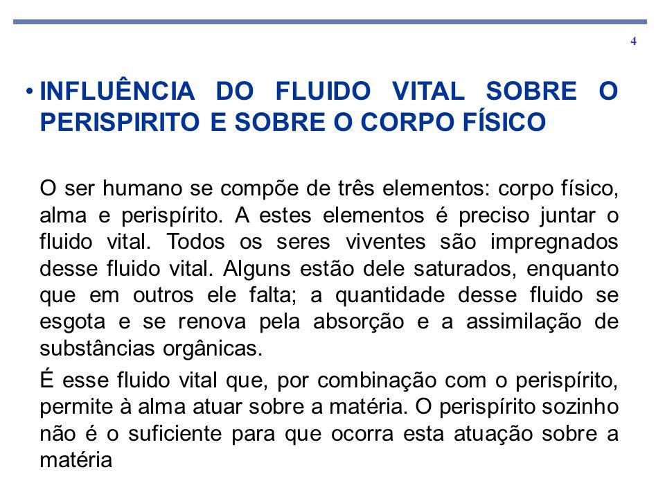 INFLUÊNCIA DO FLUIDO VITAL SOBRE O PERISPIRITO E SOBRE O CORPO FÍSICO