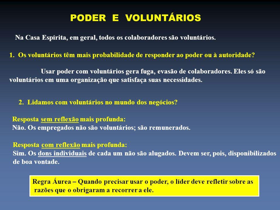PODER E VOLUNTÁRIOS Na Casa Espírita, em geral, todos os colaboradores são voluntários.