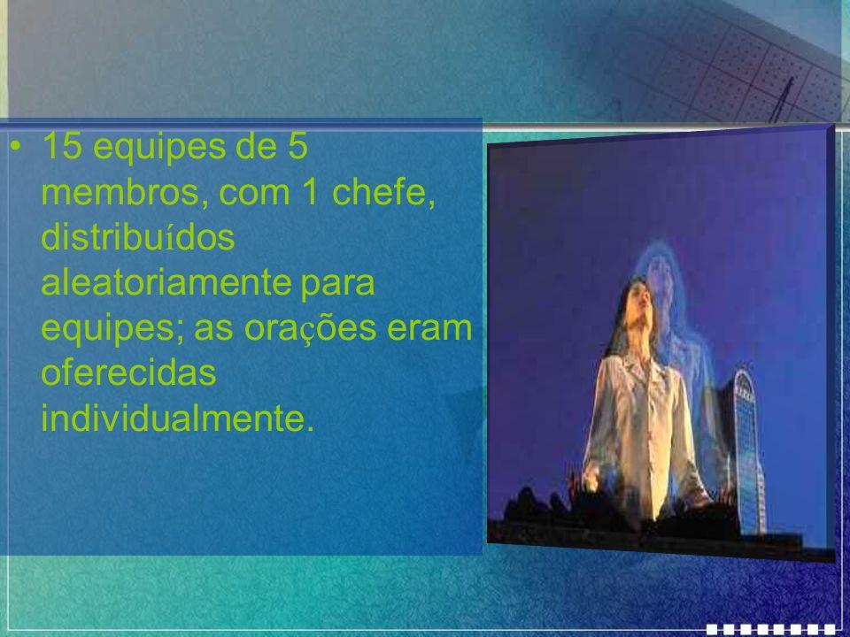 15 equipes de 5 membros, com 1 chefe, distribuídos aleatoriamente para equipes; as orações eram oferecidas individualmente.