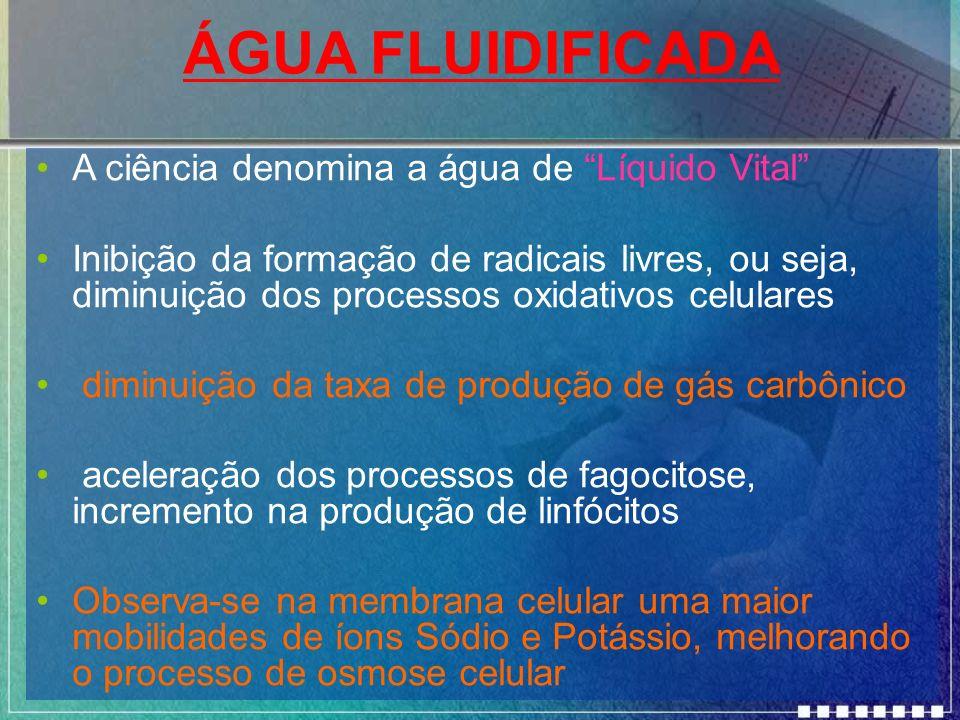 ÁGUA FLUIDIFICADA A ciência denomina a água de Líquido Vital