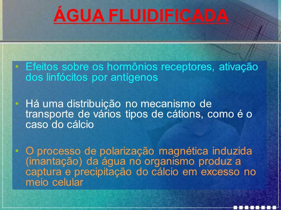 ÁGUA FLUIDIFICADA Efeitos sobre os hormônios receptores, ativação dos linfócitos por antígenos.