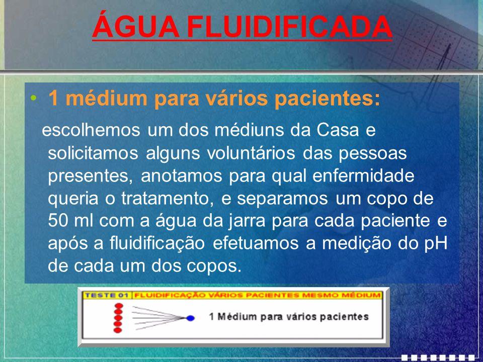 ÁGUA FLUIDIFICADA 1 médium para vários pacientes:
