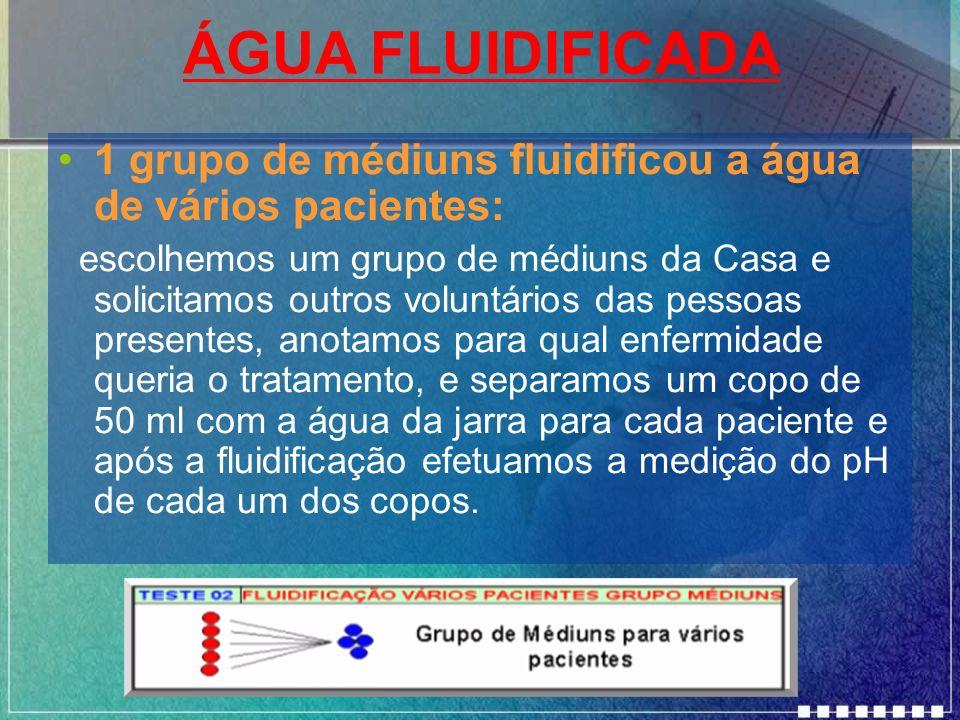 ÁGUA FLUIDIFICADA1 grupo de médiuns fluidificou a água de vários pacientes: